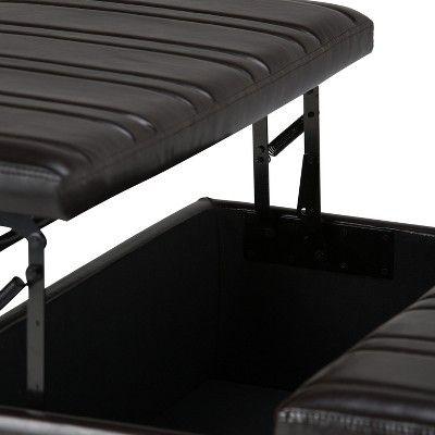 Outstanding Tyler Coffee Table Storage Ottoman Tanners Brown Faux Inzonedesignstudio Interior Chair Design Inzonedesignstudiocom