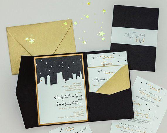 Starry Night Skyline Wedding Invitation Digital