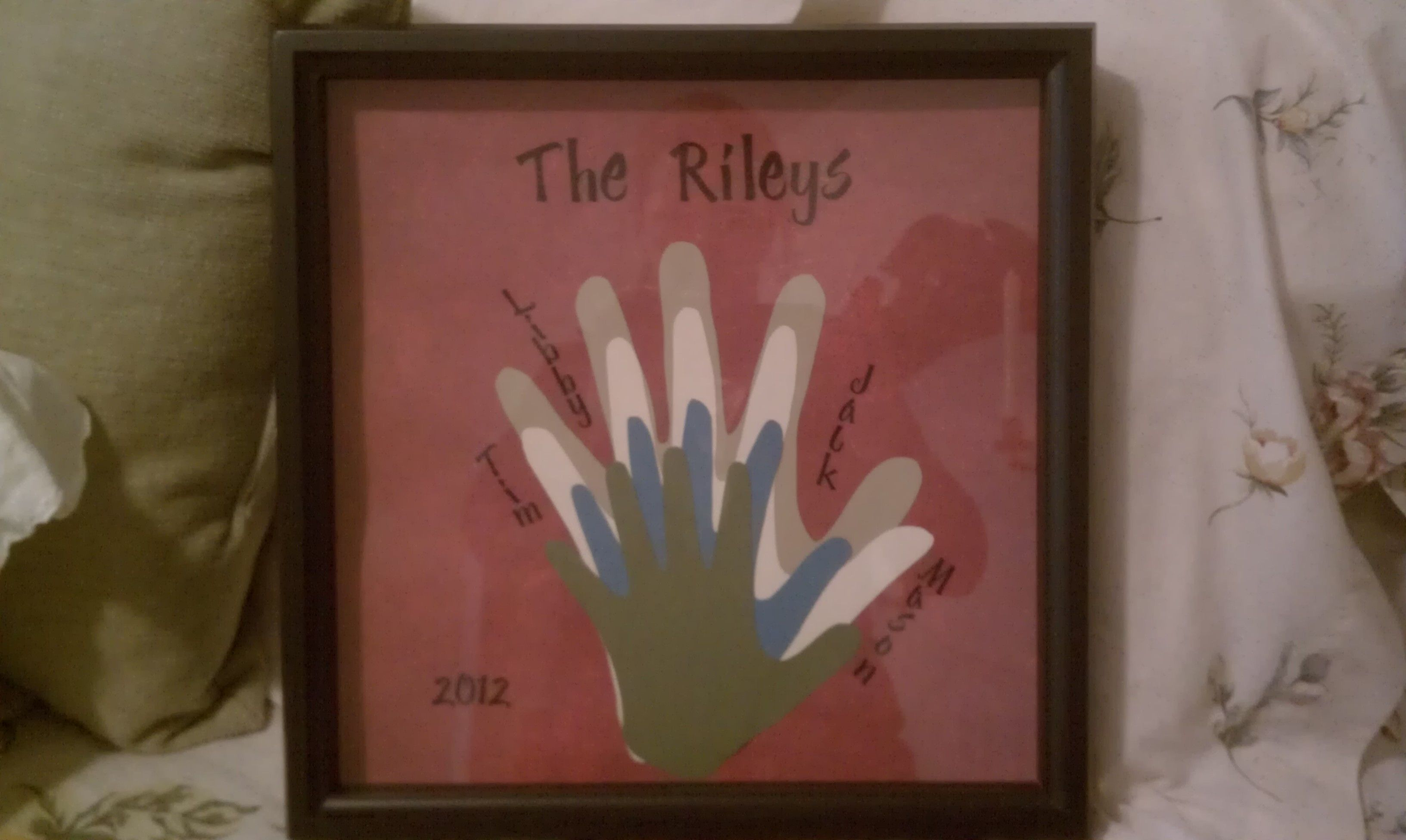 The family hand prints.  Boys are giving this to Tim for Valentine's day (along with candy of course)