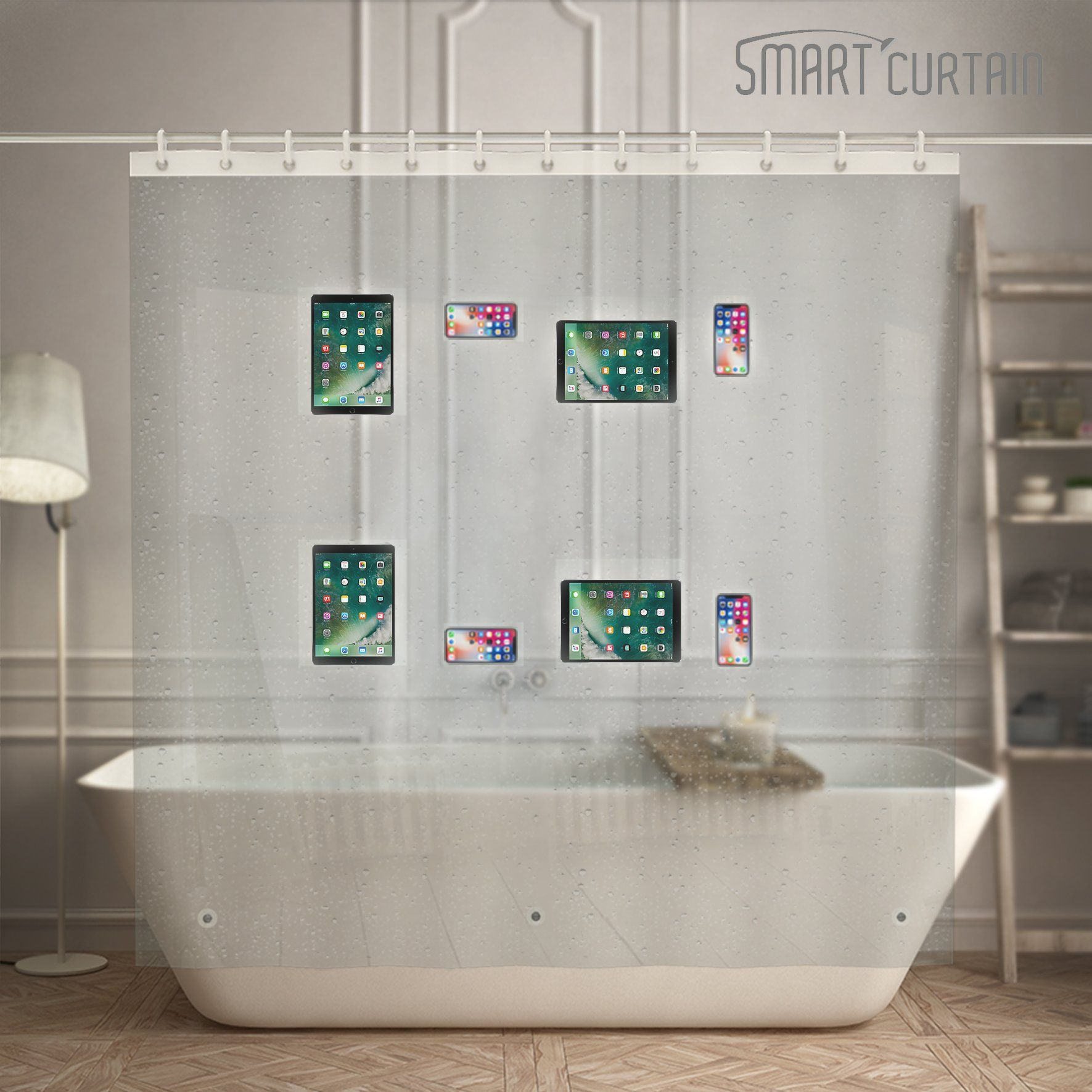 Eva Shower Curtain Liner With Waterproof 8 Clear Pockets Tablet