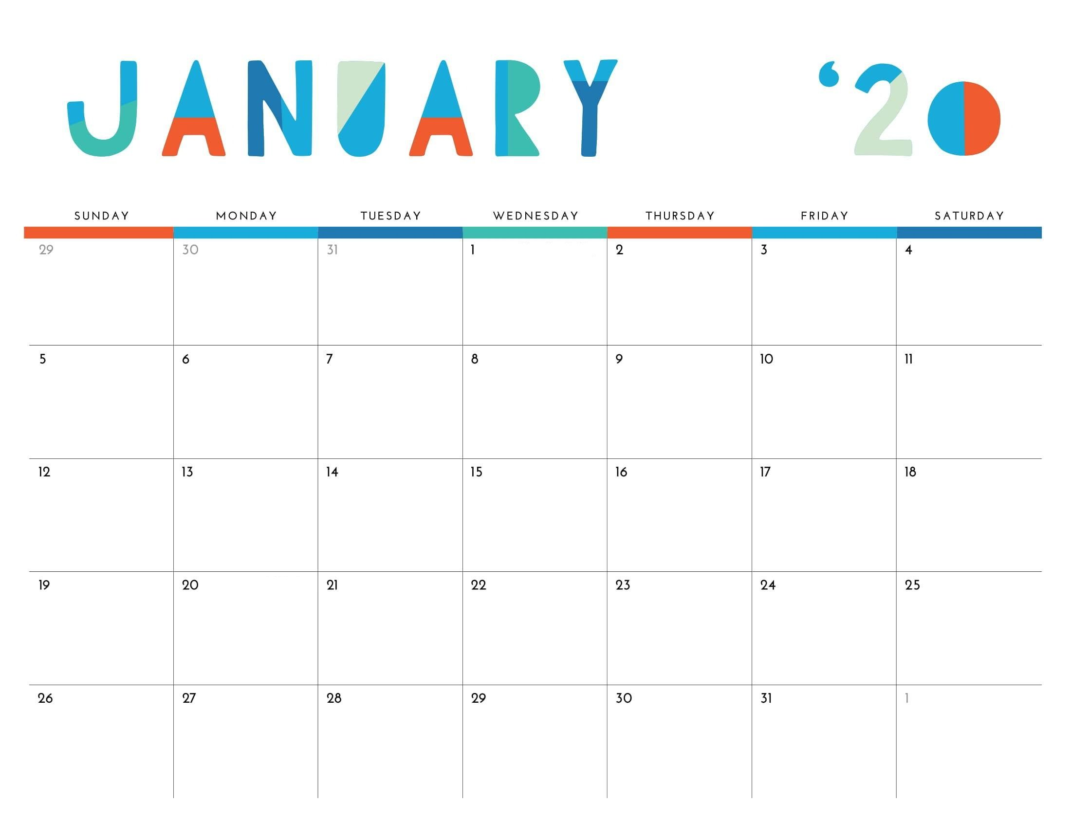Cute January 2020 Calendar Printable Images With Images