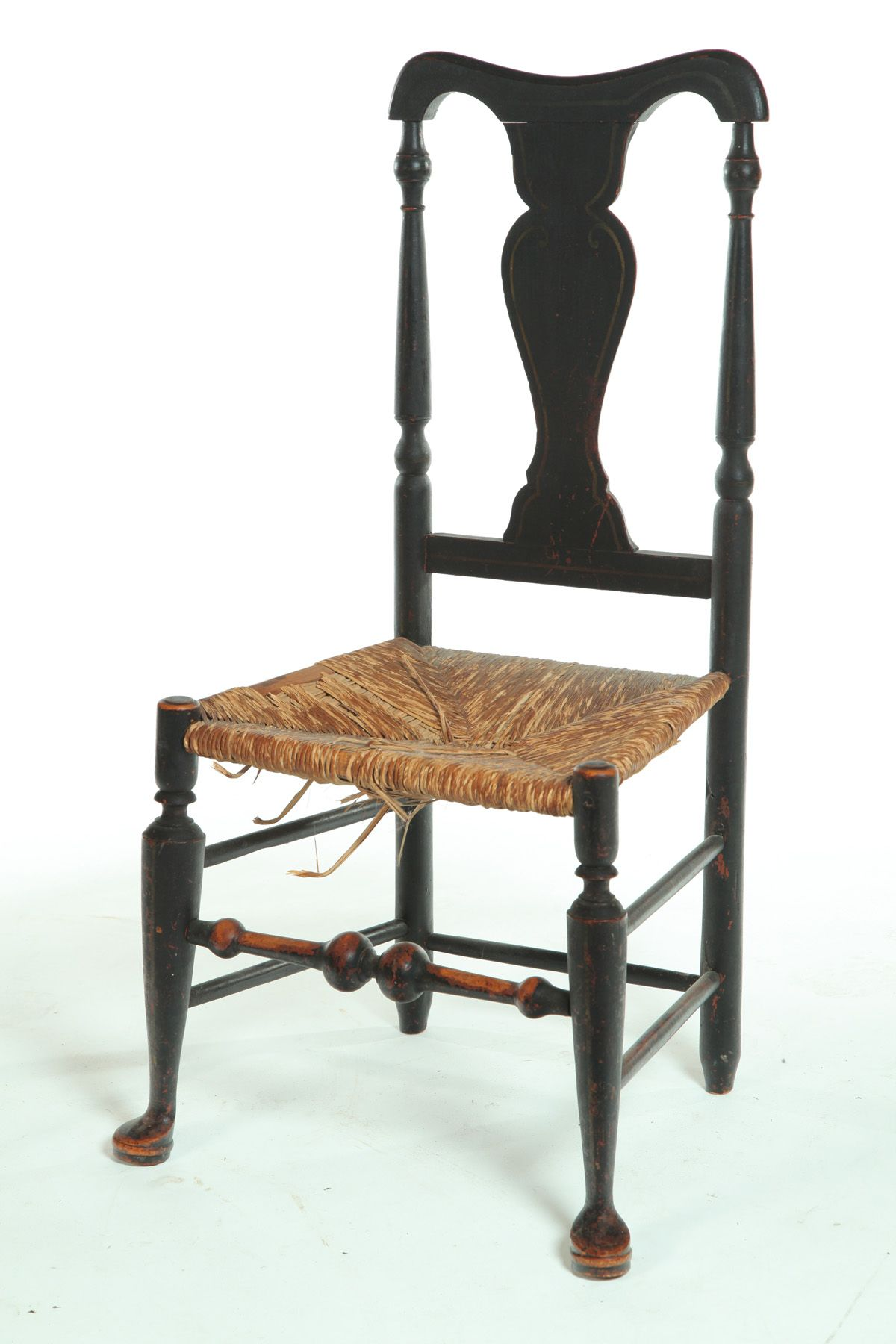 DECORATED QUEEN ANNE CHAIR. New England, 18th century
