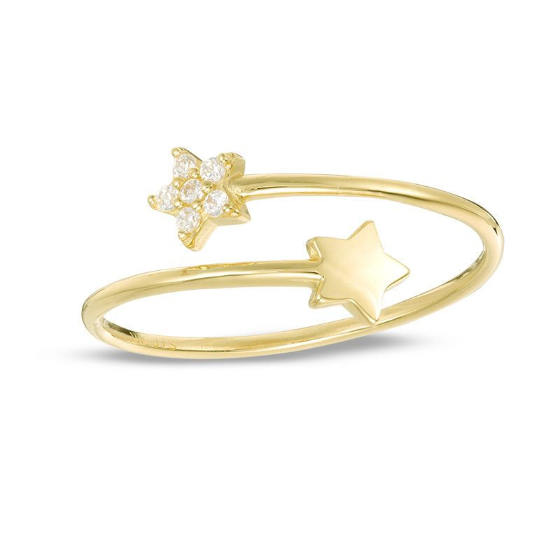 Cubic Zirconia Double Star Bypass Ring In 10k Gold Size 7 Piercing Fashion Rings Bypass Ring 10k Gold