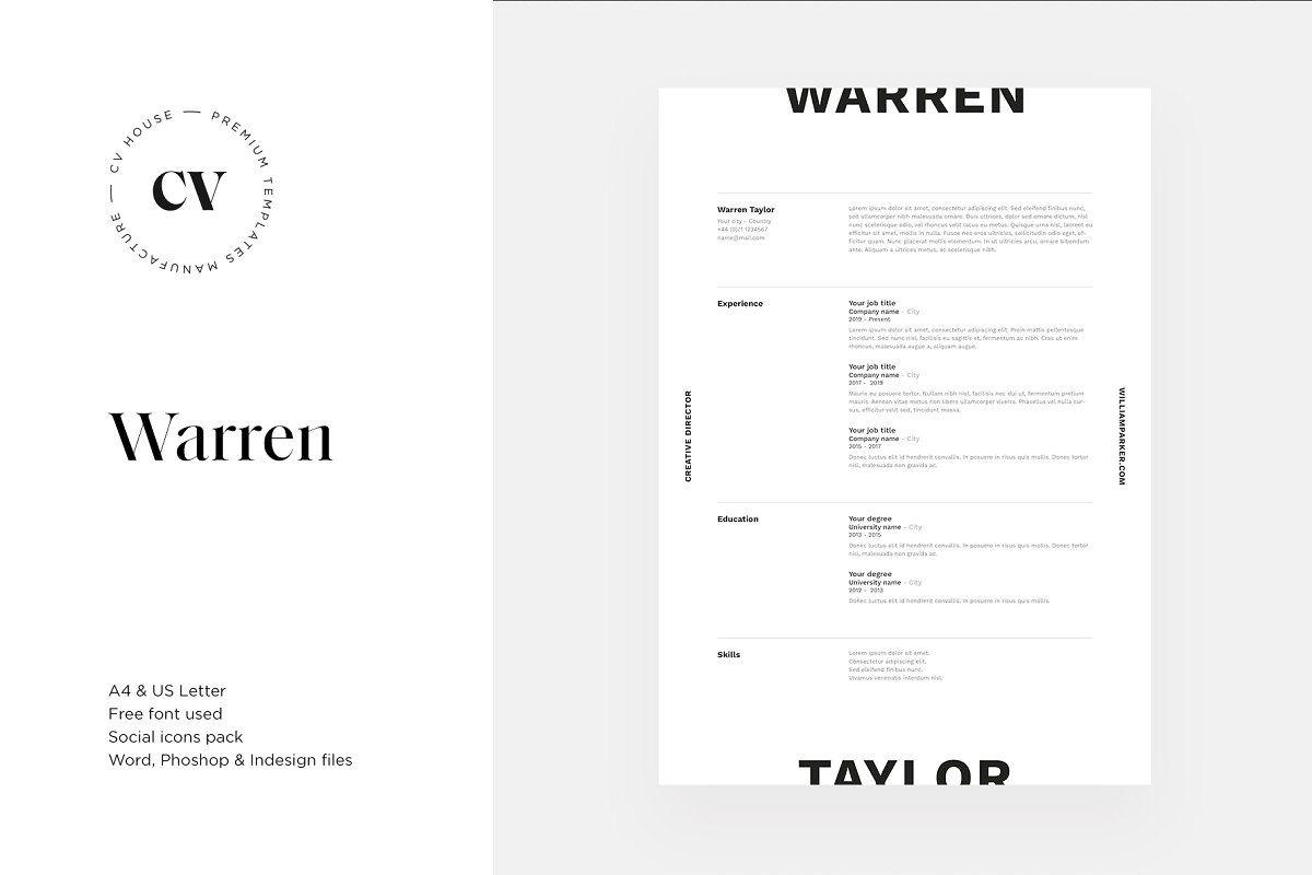 Warren CV / resume template , #Sponsored, #creative# ...