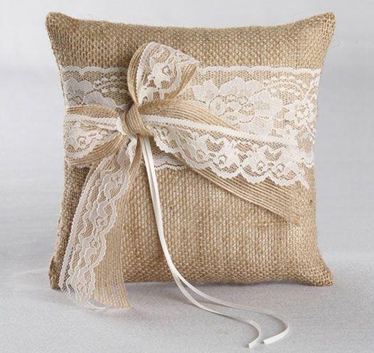 6 inch Burlap Lace Ribbon Rustic Wedding Ceremony Ring Pillow Bearer Cushion