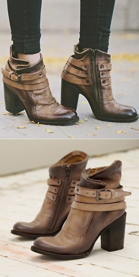 f5f7df80fd0  58.99 USD Sale! Free Shipping! Shop Now! Vintage Buckle Ankle Boots Chunky  Heel