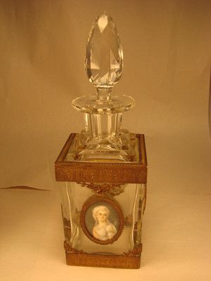 ANTIQUE FRENCH BRONZE & CRYSTAL PERFUME BOTTLE INSET WITH MINIATURE PORTRAIT
