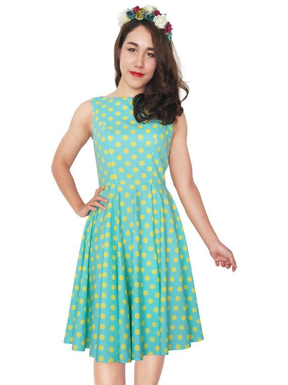 Birthday Dress Party Dress Mint Dress Polka Dot Dress Summer Dress