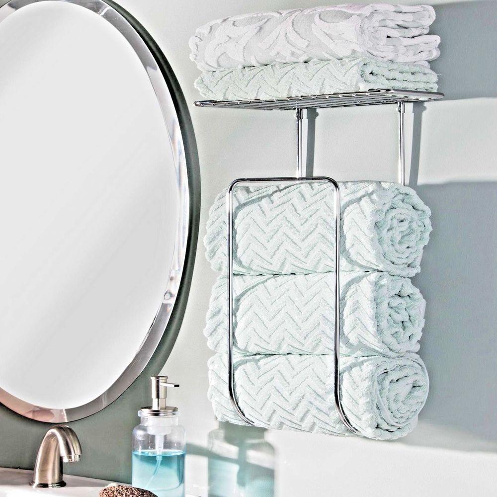 Bathroom Towel Holder Wall Mount Storage Dryer Rack Bath Hand Towels ...