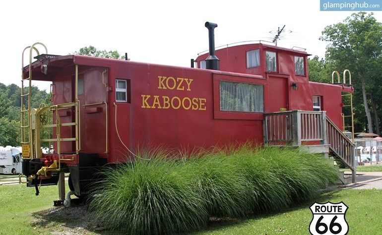 Charming Caboose For The Whole Family Near Six Flags St Louis Unique Lodging Koa Campgrounds Caboose