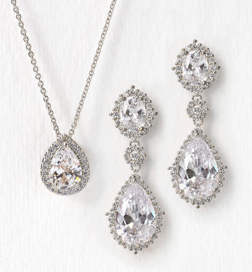 529b790d8 A stunning cubic zirconia crystal necklace set to complete your classic  bridal look. - 18K White Gold/Gold/ Rose Gold plated base metal - Cubic  Zirconia ...