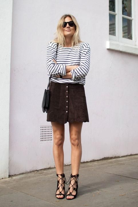 Outfit ideas to try come early fall, including a striped sailor tee with a suede a-line skirt