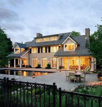 Westchester Colonial - traditional - Exterior - New York - Significant Homes LLC    ---  I like the porches and the way it goes around the side of the house