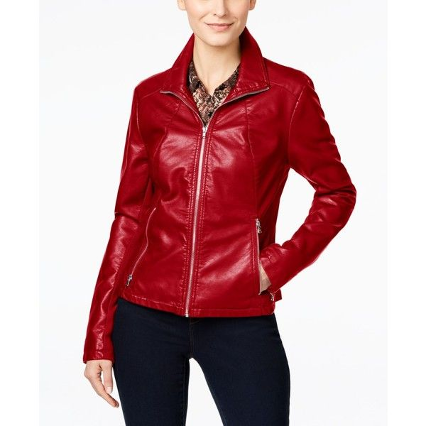 a95d3e1f9 Kenneth Cole Faux-Leather Moto Jacket ($105) ❤ liked on Polyvore ...