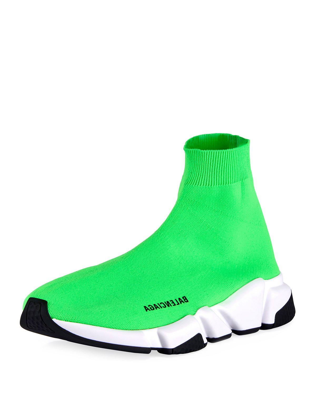 balenciaga sock shoes lime green