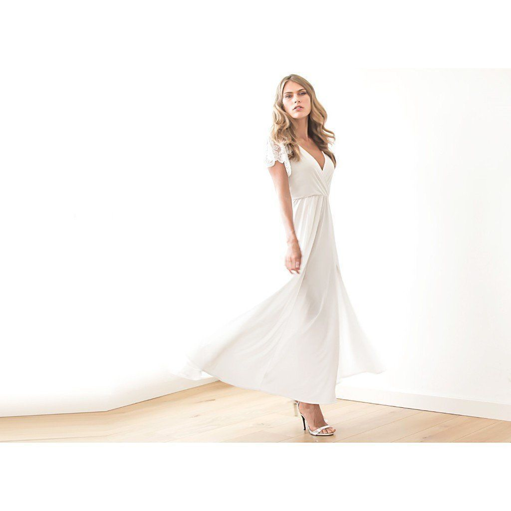 Ivory wrap dress with lace sleeves wedding simple gown with slit
