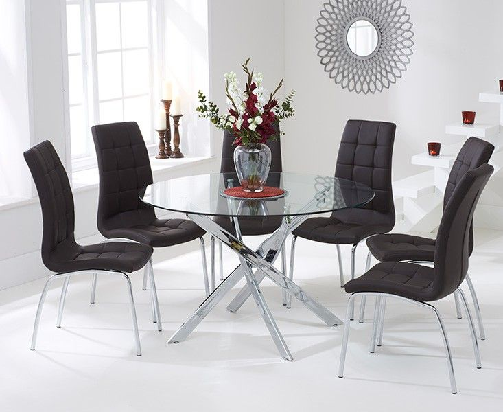Denver 120cm Glass Dining Table with Calgary Chairs.