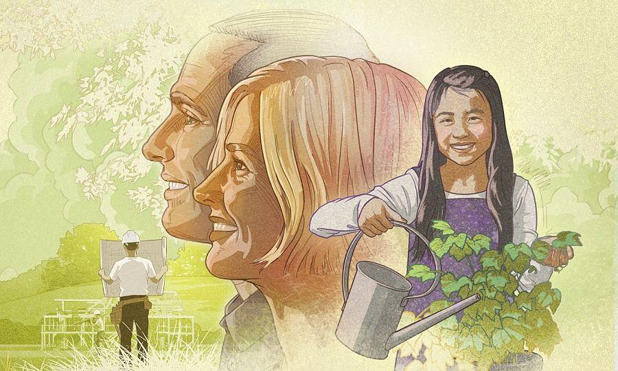 Un hombre y una mujer miran al futuro con optimismo; una niña riega las plantas; unos trabajadores construyen una casa