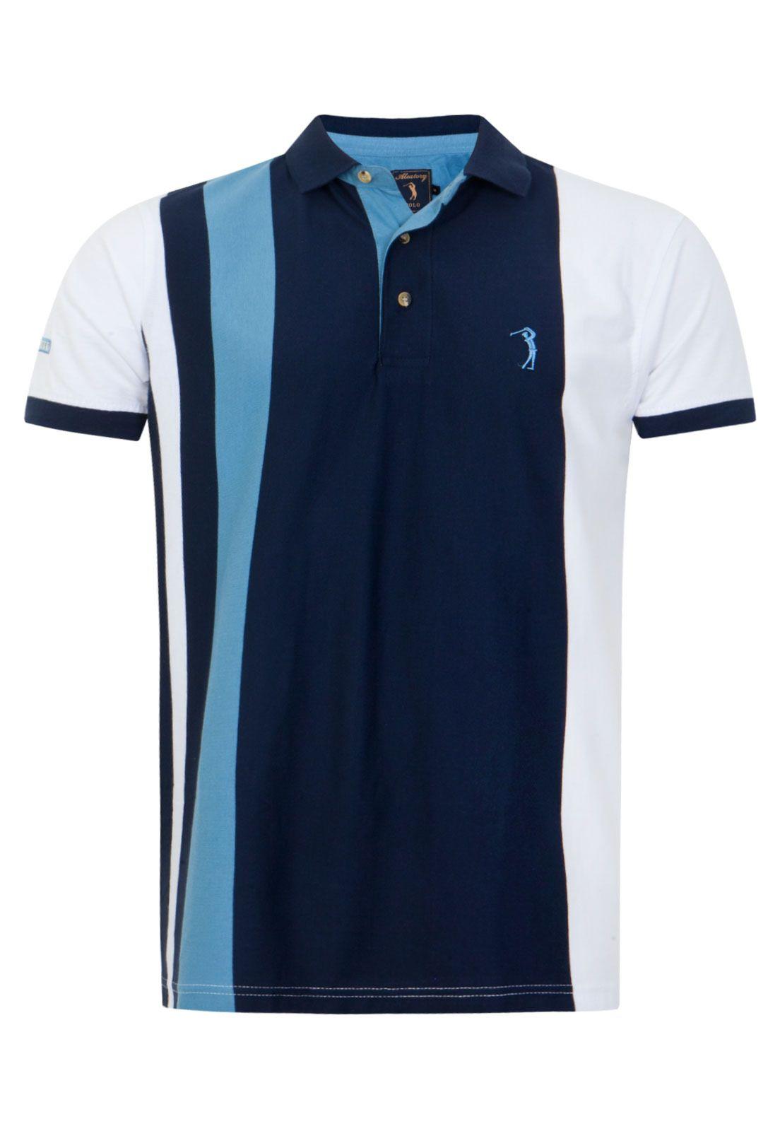 Camisa Polo Aleatory Mix Azul  ecd5ef2b110
