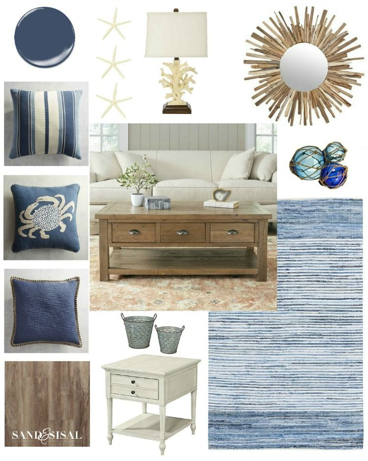 Photo of Nautical Media Room Makeover Design Board – Sand and Sisal
