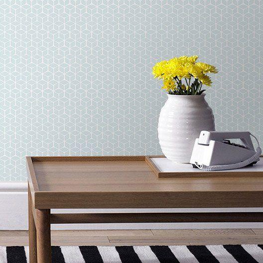 papier_peint_intisse_nelio_bleu déco maison Pinterest Papier - Cuisine Exterieur Leroy Merlin