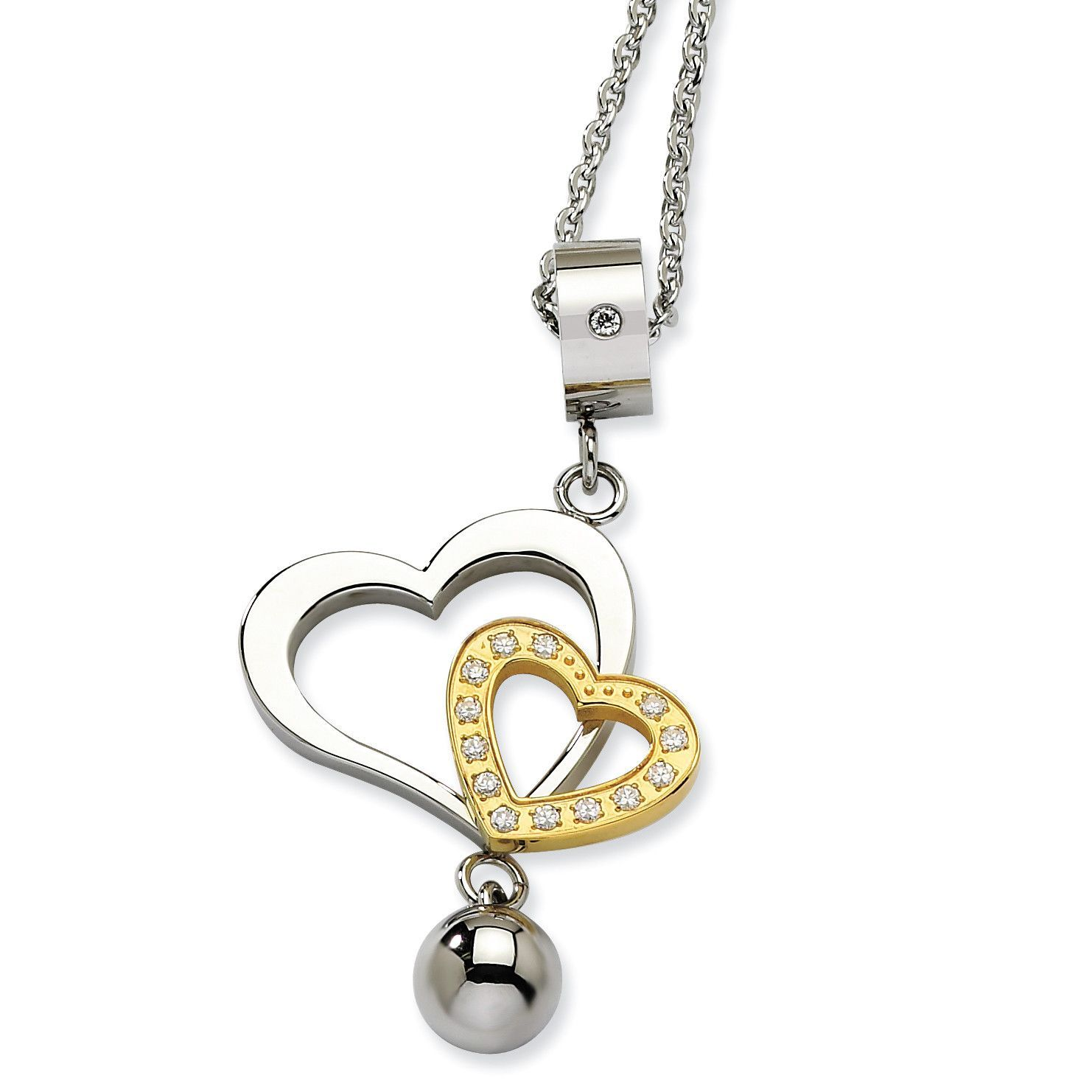 Stainless steel yellow ipplated u cz heart pendant necklace srn