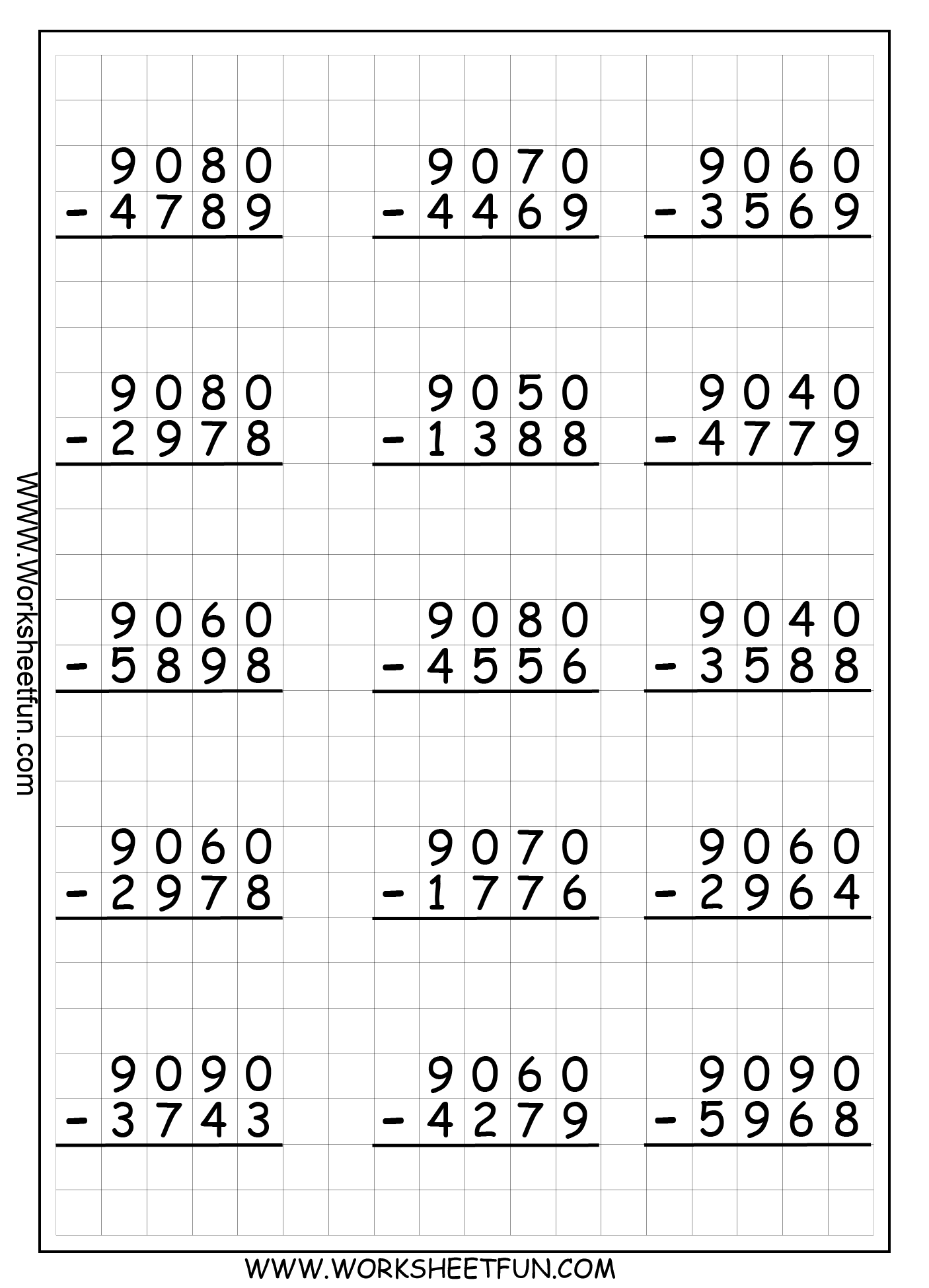 small resolution of 4 Digit Subtraction With Regrouping – Borrowing – 9 Worksheets   Exercícios  de matemática