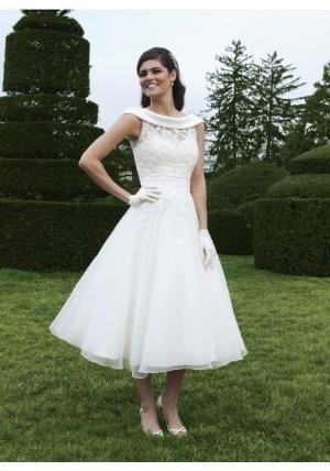 Scoop Tea Length Organza Ivory A Line Wedding Dress $177.49 by Tongui