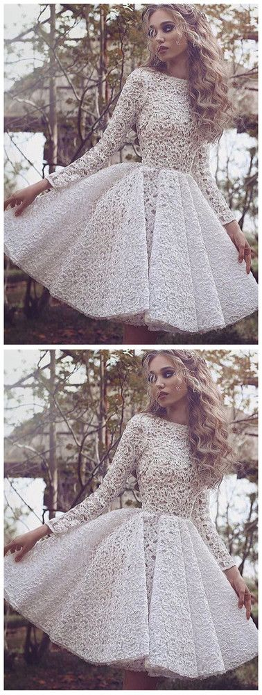 d131f5726f Unique Long Sleeves Full Lace Evening Gowns Short Homecoming Dress ...
