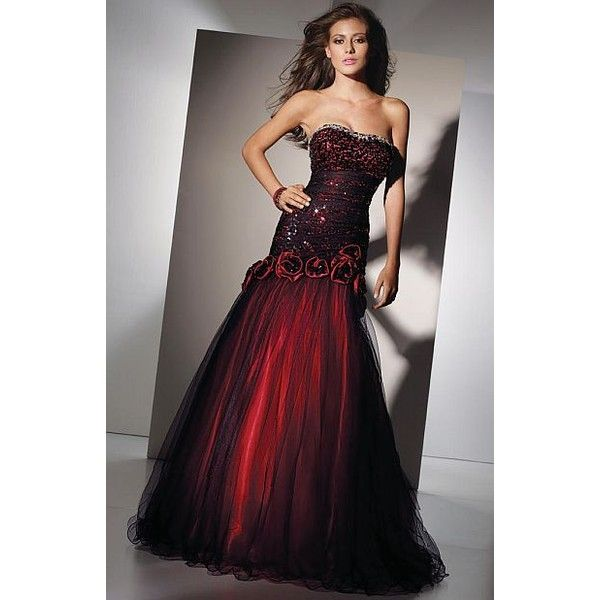 Alyce Paris Black Label Red and Black Sequin Tulle Gown 5456 (390 AUD) ❤ liked on Polyvore featuring dresses, gowns, long dresses, ball gowns, sequin evening dresses, beaded evening gowns, sequin gown, long sheer dress and sheer gown