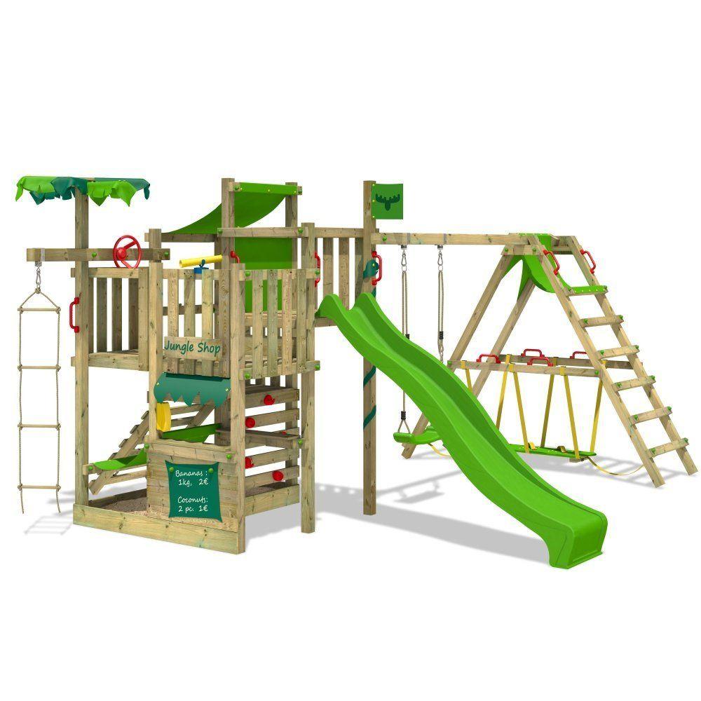 FATMOOSE Spielturm BananaBeach Kletterturm Baumhaus mit Schaukel, Rutsche und Surfanbau Amazon ...