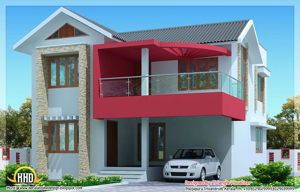nice simple modern house designs. 1610 sqft 4 Bhk flat roof house design by Spaceone Design and Construction  Flat designs