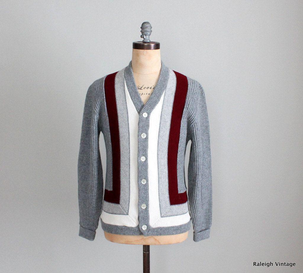 Vintage 1960s Mens Cardigan 60s Mod Grey Striped Sweater Etsy Mens Cardigan Vintage Cardigan Sweater Cardigan