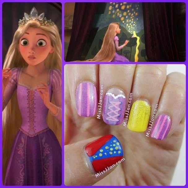 Princess Themed Nails: Disney Tangled Rapunzel Inspired Nail Art
