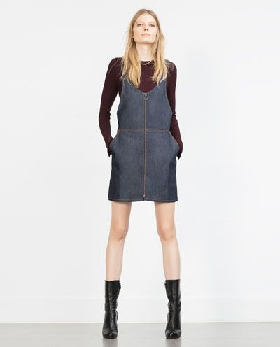Image 1 of ZIPPED RAW DENIM DRESS from Zara
