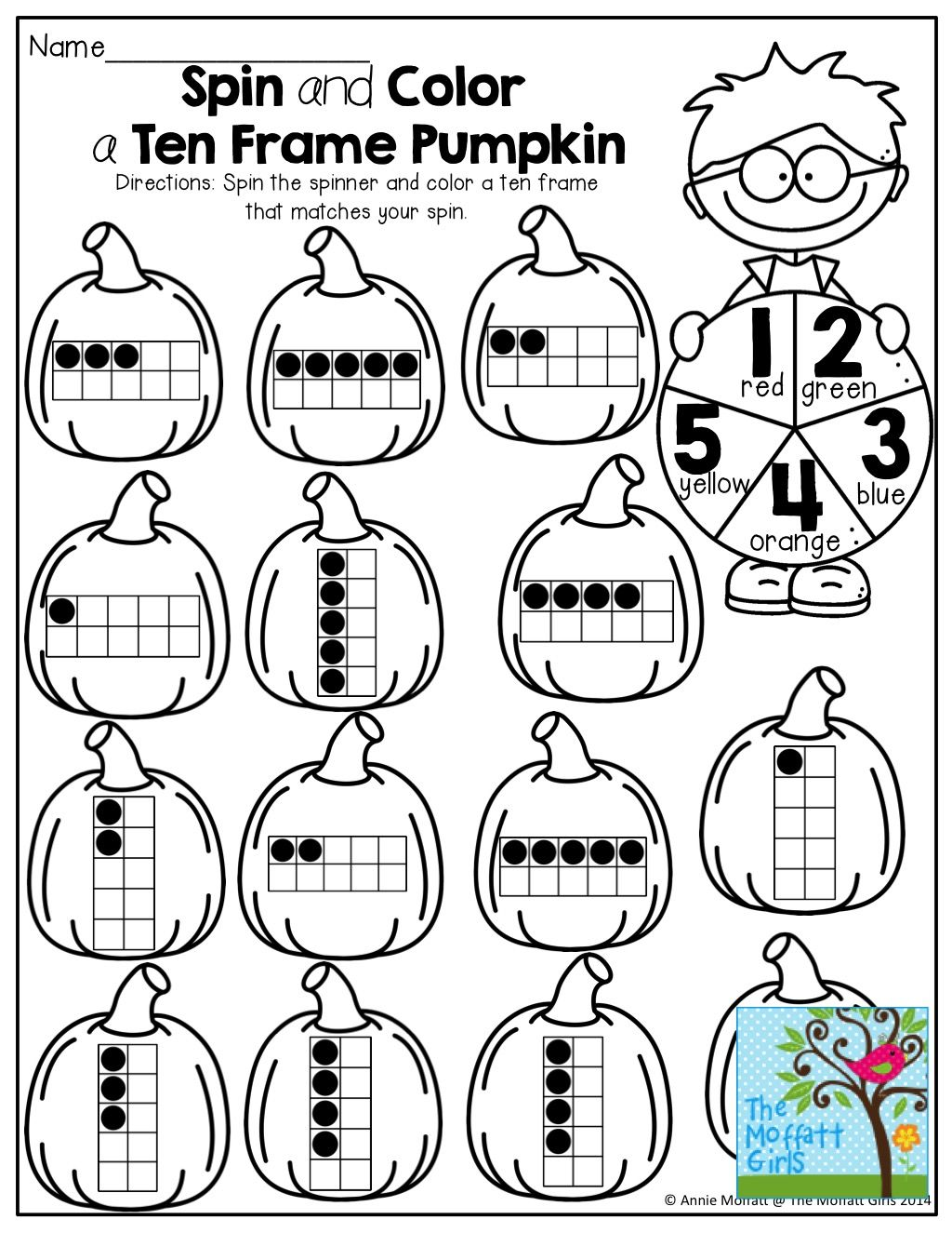Spin And Color A Ten Frame Use A Paperclip Spinner To Spin A Number Find A Ten Frame To Match