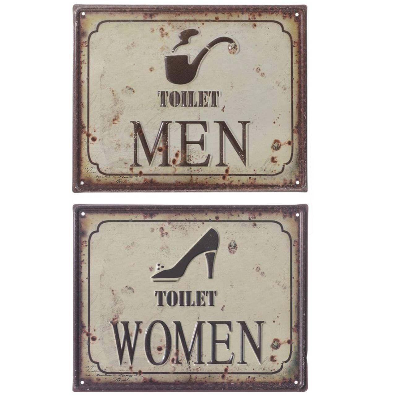Set de dos placas para #baño #hombre y #mujeres multicolor 25x20 cm