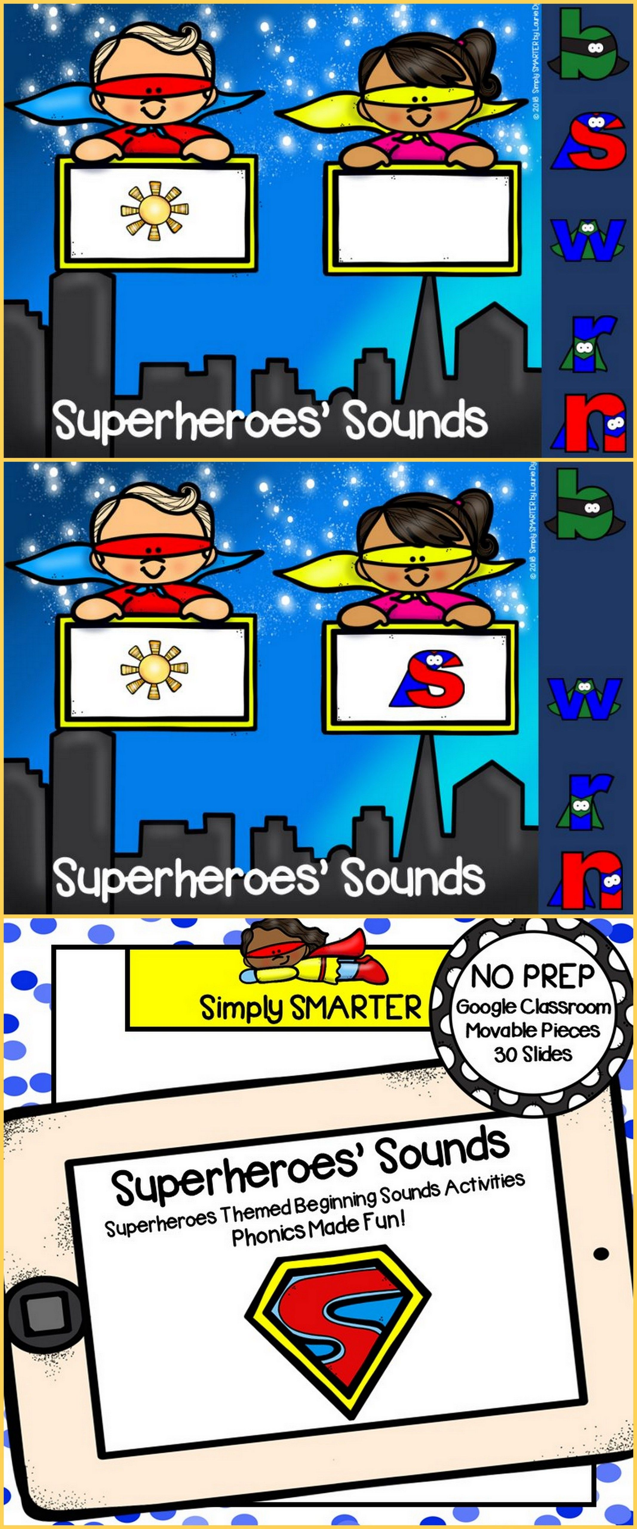 Superheroes Themed Beginning Sound Activities For