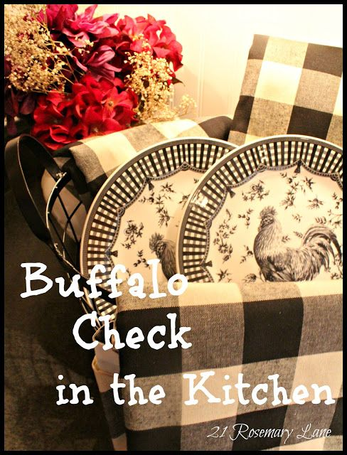 French Country Charm A Few New Items For My Kitchen Black And White Buffalo Check