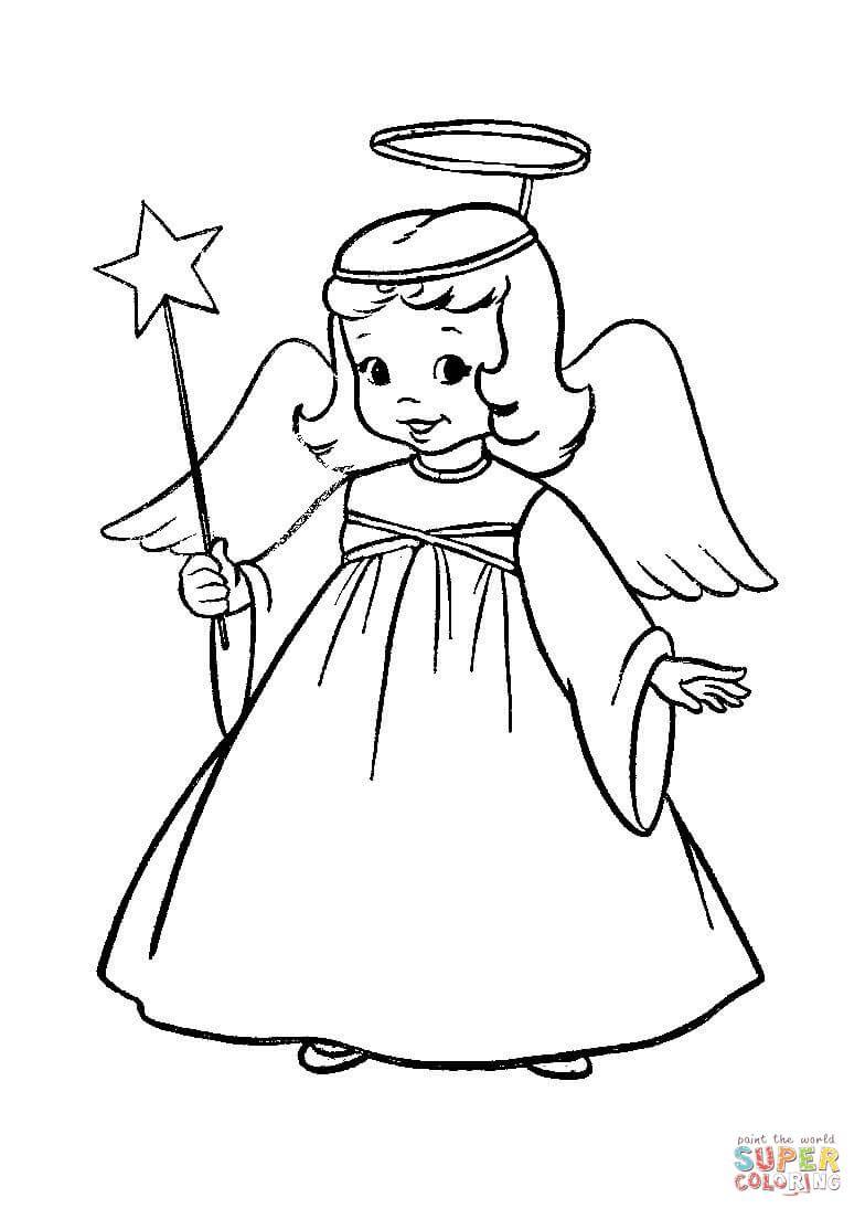 engel in kerstopvoering super coloring
