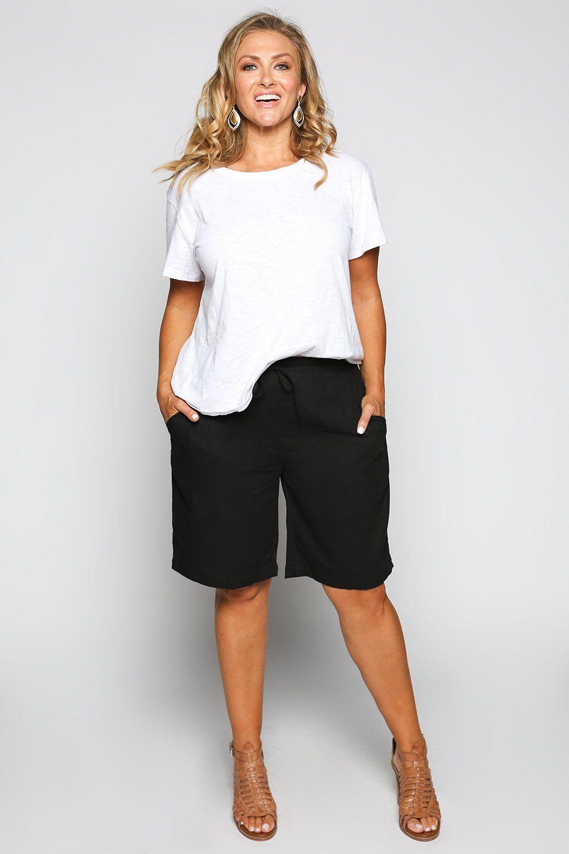 a8bd0eec45d33 Drawstring Short in Black (Plus Size) - 3XL