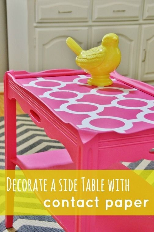 Great idea for contact paper....DIY Side Table Project