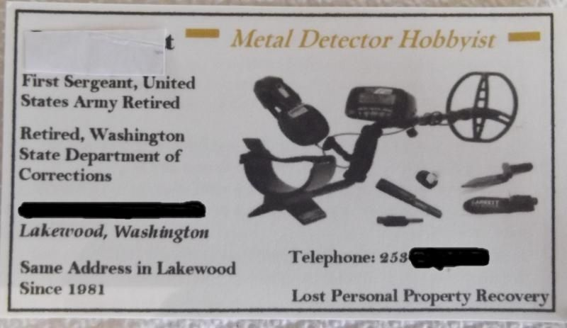 Metal Detector Hobbyist Business Card Example - Friendly Metal Detecting Forums