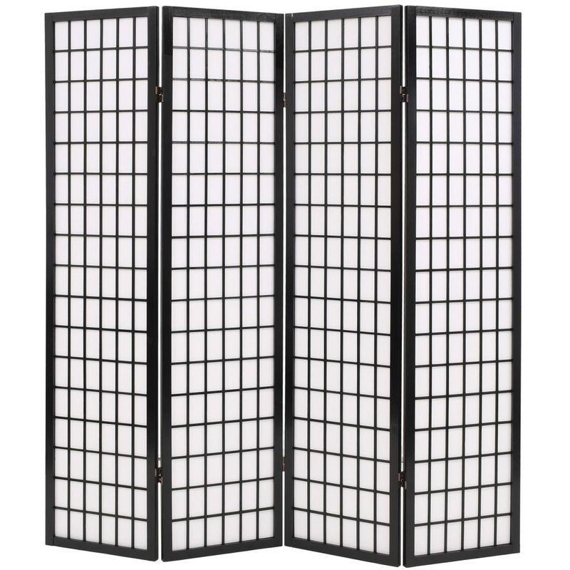 Cloison De Separation 4 Panneaux Style Japonais 160x170 Cm Noir