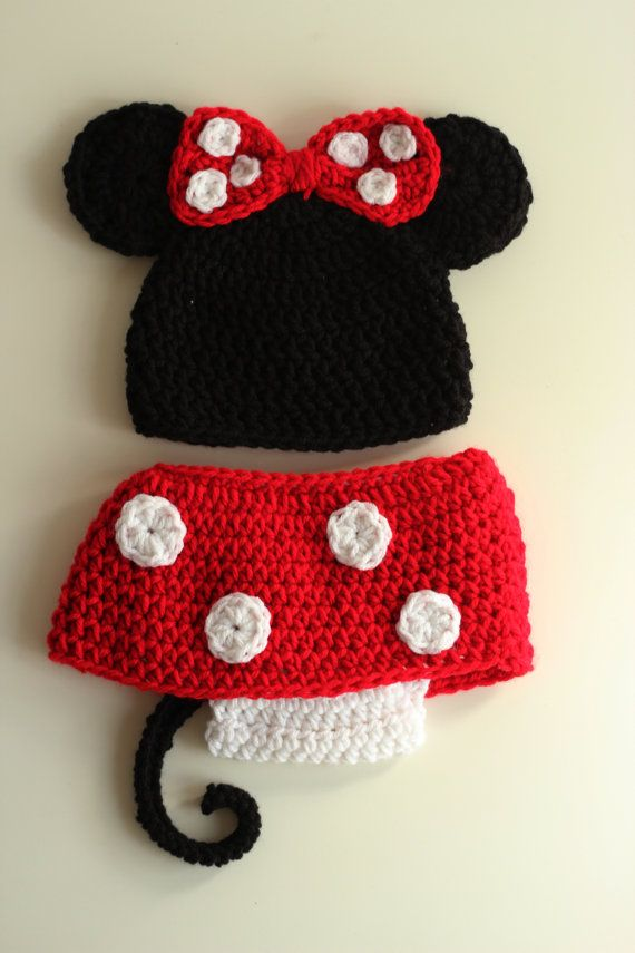 Minnie Mouse hat and diaper cover set | Sugar&Spice&Everything Nice ...