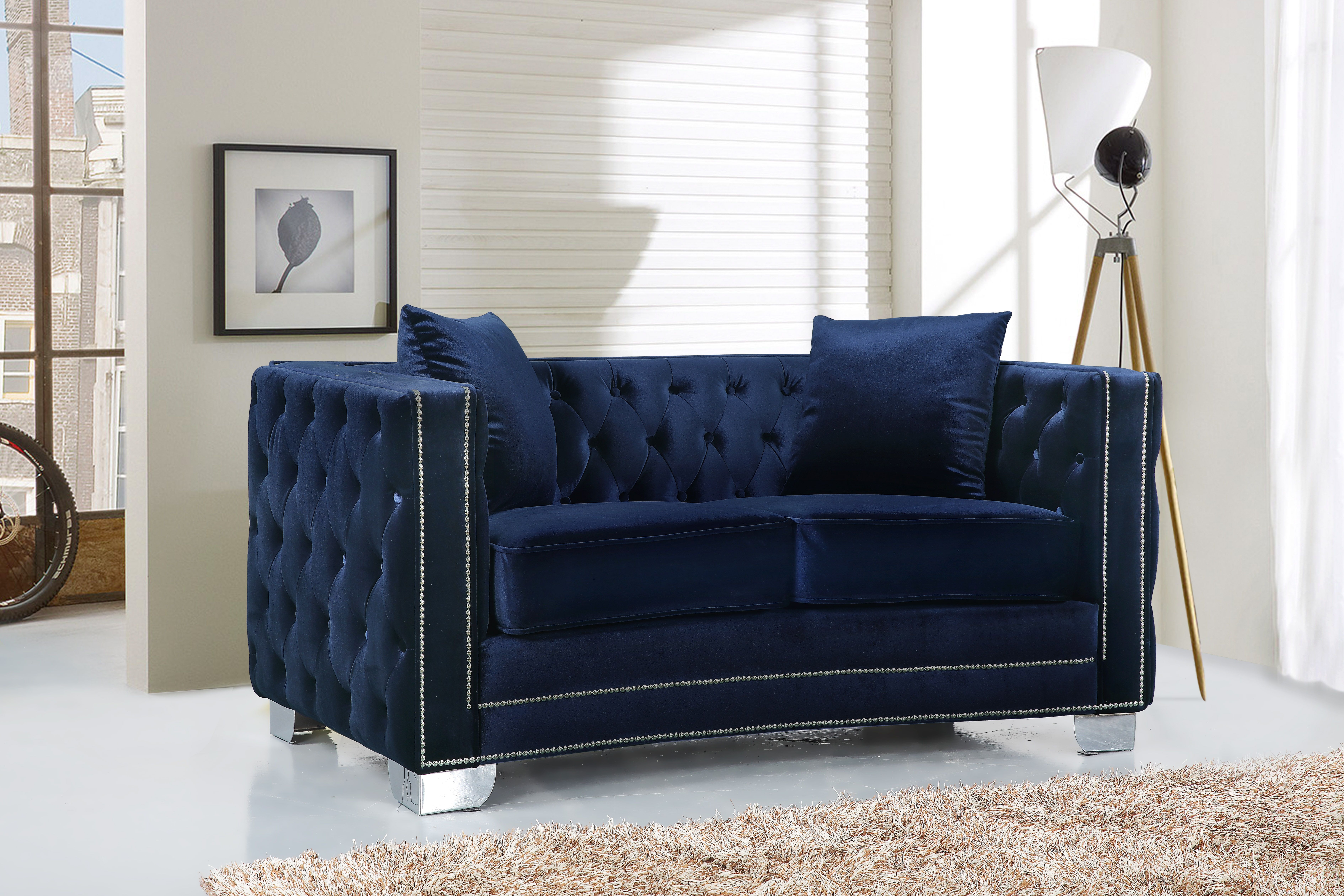 Meridian Furniture   This Stunning Navy Velvet Reese Love Seat Is The  Perfect Addition To Any