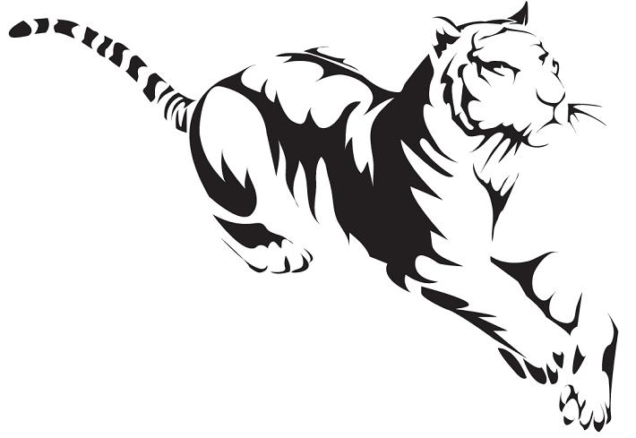 White Tiger Logo Silhouette Art Tiger Logo Tiger Drawing