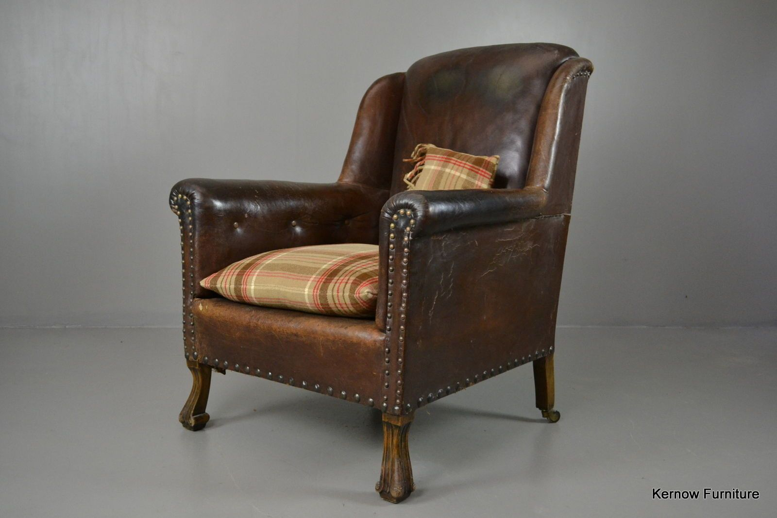 Antique Brown Leather Armchair | Brown leather armchair ...