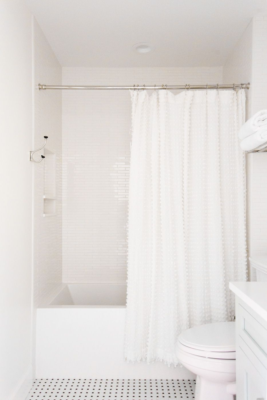 Black White Tile And Pom Shower Curtain