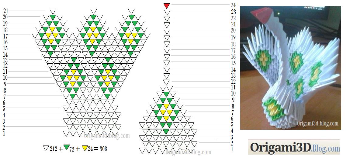 3d origami : DIAMOND PATTERN SWANS   518x1151